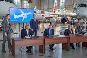 """Авиакомпания """"Аврора"""" подписала соглашение о намерениях на поставку восьми SSJ 100"""